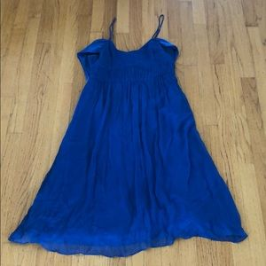 Stunning Anthropologie Cobalt Blue 100% Silk Dress